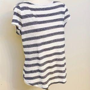 NWT Ann Taylor SS Black Striped Linen T-Shirt M